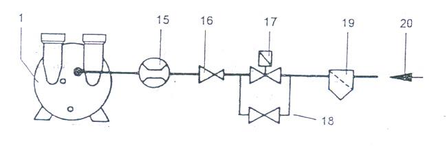 b)吸气法兰接口 同排气接口。 为防止安装残渣,如焊渣,进入真空泵,建议在开始的100小时内,在吸入管上安装过滤 c)推荐用工作液联接见图6。 2.1.3 工作液供应方式(见图7) 2.1.3.1 冷却液联接 为保证最低吸气压力,需提供足够工作液,泵排出的工作液完全排掉,补充以新工作液。充水后,真空泵可自吸水,直至吸入压头约lm。启动真空泵时,保证联接的清洁工作液有一定的水位。 2.